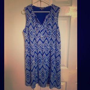 Blue and white diamond chevron summer dress